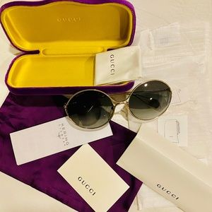 Gucci Gradient lens Round Sunglasses Pearls